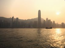 Puesta del sol de Hong-Kong fotos de archivo