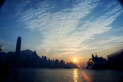 Puesta del sol de Hong-Kong foto de archivo