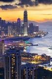 Puesta del sol de Hong-Kong Foto de archivo libre de regalías