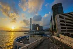 Puesta del sol de Hong Kong de la ciudad Fotografía de archivo