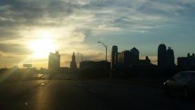 Puesta del sol de Kansas City Imagen de archivo libre de regalías