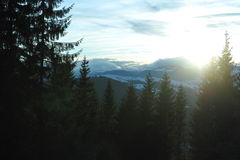 Puesta del sol de Karpacian Imagen de archivo