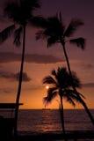 Puesta del sol de Kona Imagenes de archivo