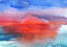 Puesta del sol de la acuarela Imagenes de archivo