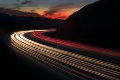 Puesta del sol de la autopista sin peaje Fotos de archivo libres de regalías