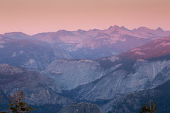 Puesta del sol de la bóveda del centinela, parque nacional de Yosemite foto de archivo libre de regalías