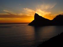 Puesta del sol de la bahía de Hout Foto de archivo libre de regalías