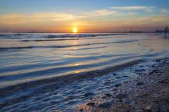 Puesta del sol de la bahía de Melbourne Imagen de archivo