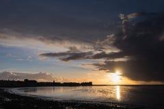 Puesta del sol de la bahía de Morecambe Imagen de archivo