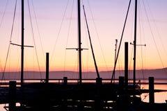 Puesta del sol de la bahía de Morro Imagen de archivo