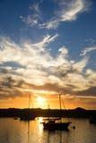 Puesta del sol de la bahía de Morro Fotografía de archivo libre de regalías
