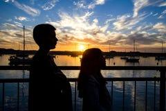 Puesta del sol de la bahía de Morro Foto de archivo libre de regalías