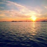 Puesta del sol de la bahía de Muskamoot Fotografía de archivo