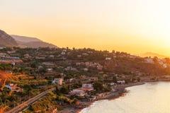 Puesta del sol de la bahía de Palermo fotografía de archivo