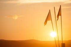 Puesta del sol de la bandera Imagen de archivo libre de regalías