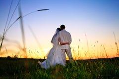 Puesta del sol de la boda Fotos de archivo libres de regalías