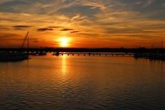 Puesta del sol de la caída en nuevo Bern North Carolina imagenes de archivo
