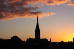 Puesta del sol de la catedral imagen de archivo libre de regalías