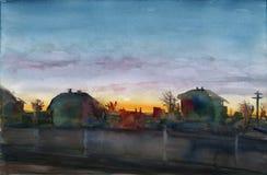 Puesta del sol de la ciudad libre illustration