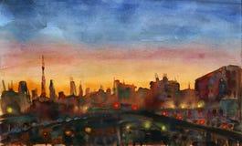 Puesta del sol de la ciudad ilustración del vector