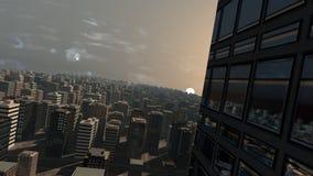 Puesta del sol de la ciudad Fotos de archivo libres de regalías