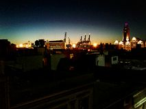 Puesta del sol de la ciudad Fotografía de archivo