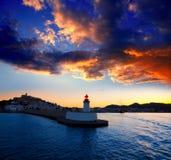 Puesta del sol de la ciudad de Eibissa Ibiza del faro rojo Fotografía de archivo libre de regalías