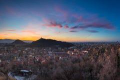 Puesta del sol de la ciudad natal Imagenes de archivo