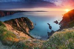 Puesta del sol de la costa de Pembrokeshire Imagenes de archivo