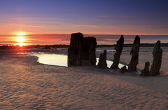 Puesta del sol de la costa oeste Fotografía de archivo libre de regalías
