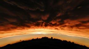 Puesta del sol de la cumbre Foto de archivo libre de regalías
