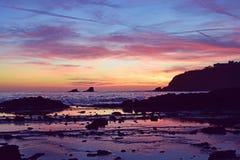 Puesta del sol de la ensenada del pescador Fotografía de archivo