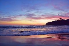 Puesta del sol de la ensenada del pescador Imagen de archivo