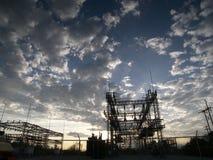 Puesta del sol de la estación de transferencia Fotos de archivo