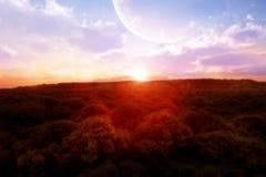 Puesta del sol de la fantasía Fotos de archivo