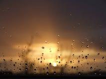 Puesta del sol de la gota de lluvia Fotografía de archivo libre de regalías
