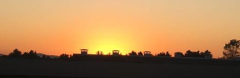 Puesta del sol de la granja Imagen de archivo