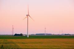 Puesta del sol de la granja de viento Fotos de archivo libres de regalías