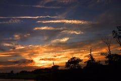 Puesta del sol de la isla de Fenwick Imagenes de archivo