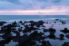 Puesta del sol de la isla de Juju Imágenes de archivo libres de regalías