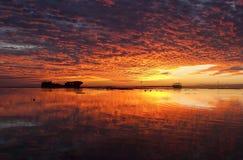 Puesta del sol de la isla de la garza Foto de archivo libre de regalías