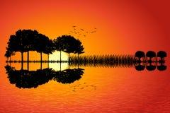 Puesta del sol de la isla de la guitarra stock de ilustración