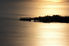 Puesta del sol de la isla de Lindau imagen de archivo libre de regalías