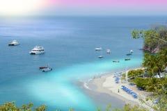 Puesta del sol de la isla de Tortuga Imagen de archivo libre de regalías
