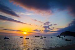 Puesta del sol de la laguna Foto de archivo libre de regalías