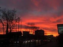 Puesta del sol de la llama fotografía de archivo libre de regalías