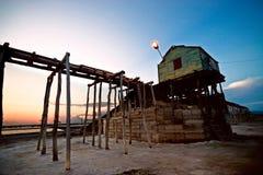 Puesta del sol de la mina de sal Fotos de archivo libres de regalías