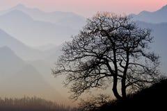 Puesta del sol de la montaña de Smokey Fotos de archivo