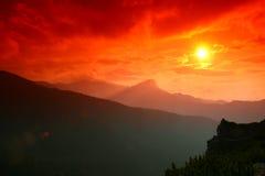 Puesta del sol de la montaña de Tatra Imagen de archivo