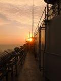 Puesta del sol de la nave Fotografía de archivo libre de regalías